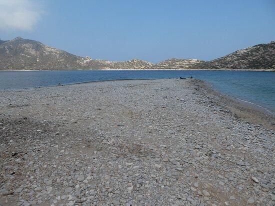 the shingle spit at Agios Pavlos