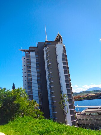 Noumea, New Caledonia: ┌🗼🔹  PACIFIC PLAZA TOWER  🔹🗼┐ ■ WATER RESERVOIR SCENIC POINT 。■ Nouméa Cityscape ■ 。