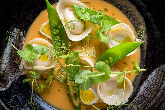 Crab Dumplings, Poached Quail Egg, Laksa Sauce