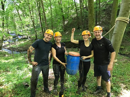 Matlock, UK: On completion of the Woodland Assault Course Challenge