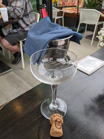 A glass of bubbly at the Ubuntu Café.