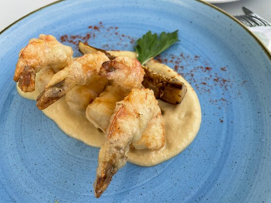 Fried shrimp served with hummus at the Huzur lunch place. Delicious.
