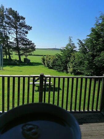 Horsley, UK: Morning cup of tea with view from the deck.