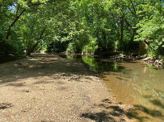 "Rittenhouse Park pebbly  ""beach"" area along creek"