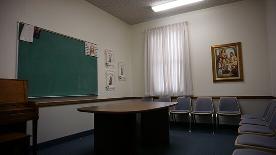 Classroom with a piano in the Church of Jesus Christ of Latter-day Saints in Gordon, Nebraska.