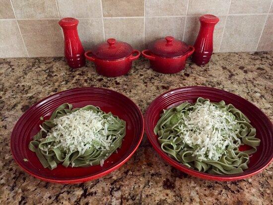 Sudbury, MA: Fettuccine with basil pesto and Parmesan