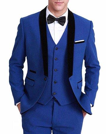 Custom Made Royal Blue Wedding Tuxedo Suit with black Satin lapel