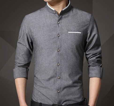 Custom Made Stand Collar Grey Shirt