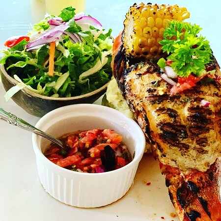 Char grilled lobster served with 2 sides and a side salad 🥗