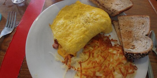 Moon Over Miami omelet w/ toast & hash browns