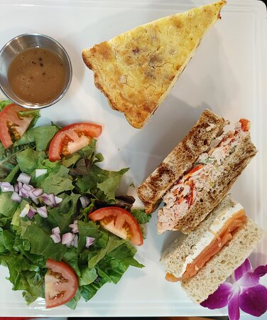 Our Quiche Lorraine Lobster Salad & Smoked Salmon Tea Sandwiches with a Garden side Salad.