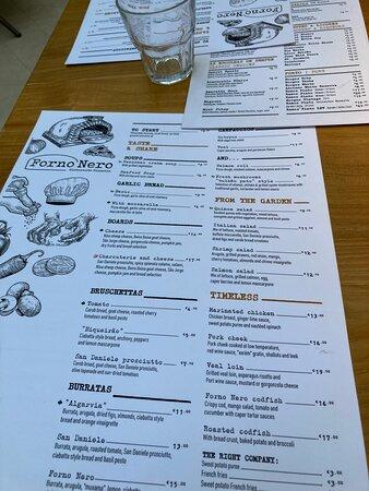 The printed menu