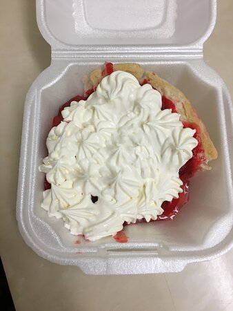 Cloverdale, IN: Had to get my slice of strawberry pie to go cause I was full.