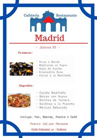 a estamos listos👏👏!!! Nuestro menú 🍽 para mañana🤩!!!! Con este solecito☀️ apetece muchísimo🤗! Esperamos vuestras reservas👩🍳!! Para disfrutar de una buena comida Madrileña🤤 Cafeteria - Madrid Calle Cabañal, 10 - Cullera  ☎️ - 96 116 708
