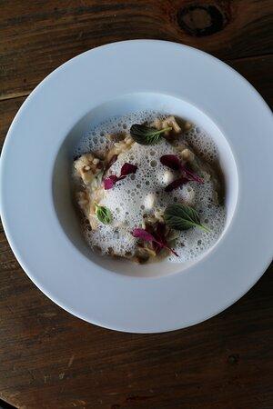 Mushroom risotto with parmesan and shimeji pickles