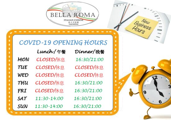 Covid-19 new opening hours