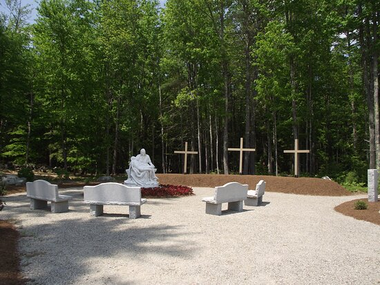 NH - ALTON - ST KATHARINE DREXEL – GROTTO WITH CROSSES, SCULPTURE, & BENCHES