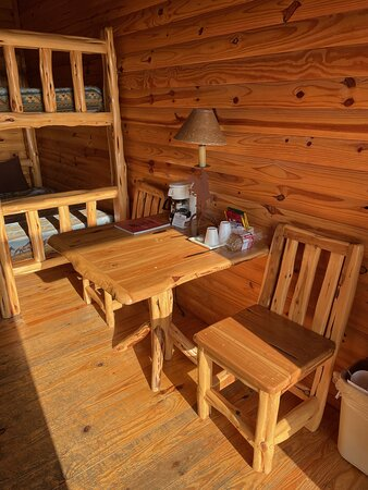 Chairs, table and bunk bed