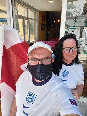 Mother and son ready for England game ⚽️🏴