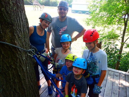 New Florence, MO: On the platform after our first zip. Everyone's enjoying themselves.