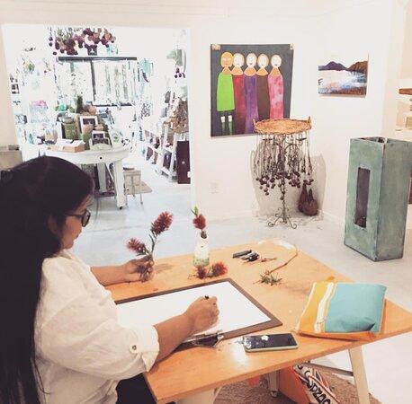 Marlborough Region, New Zealand: Vasu preparing for one of her art workshops