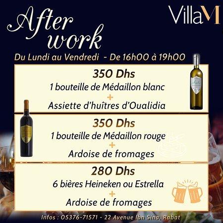 Ne ratez pas l'Afterwork chez Villa M ! De nouvelles formules vous attendent, venez les découvrir !