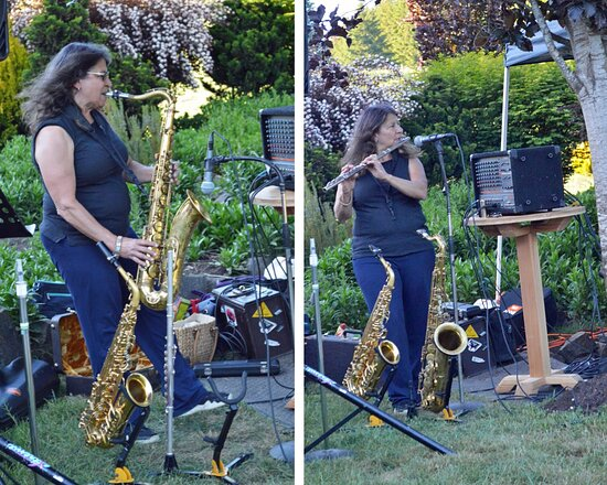 """Junction City, OR: Darline MyBand musician on sax & flute at Pfeiffer Winery's """"Burgers and Blues"""" event in May 2021"""