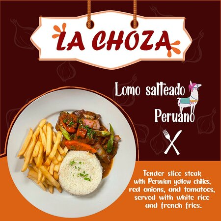 Tender sliced steak with Peruvian yellow chilies, red onions, and tomatoes, served with white rice and french fries.