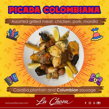 Assorted grilled meat - chicken, pork, morsilla, casaba, plantain, and sausage