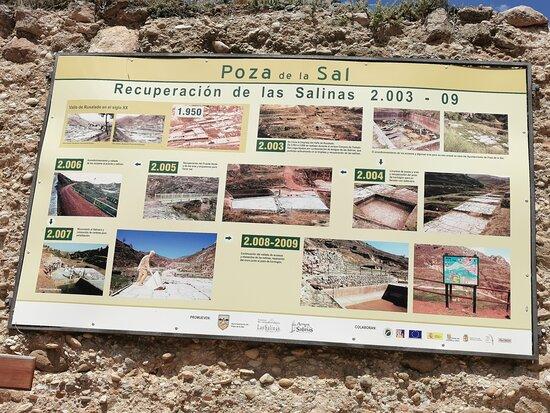 Cartel informativo de la recuperación de las Salinas.