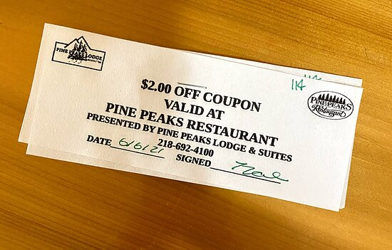 Crosslake, MN: $2 off coupon replaced the free breakfast coupon