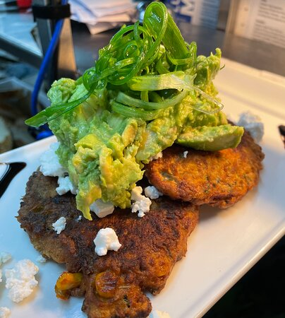 Corn and Zucchini Fritters in our all day menu , prefect dish for Vegetarians