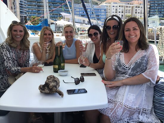 Gibraltar Town: Sunset Cruise ready to depart, smiles are complimentary