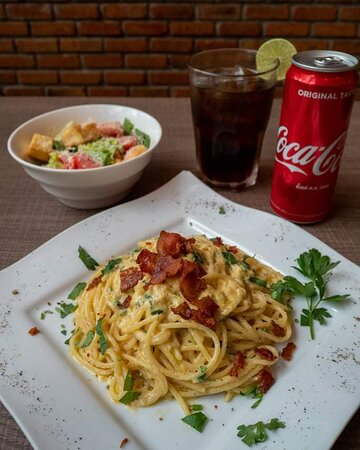 Early Bird Special. Pasta, Caesar salad and Coke Only 189!  3:30 to 6 pm.
