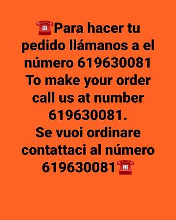 Para hacer una reserva o hacer tu pedido llámanos a el número 619630081