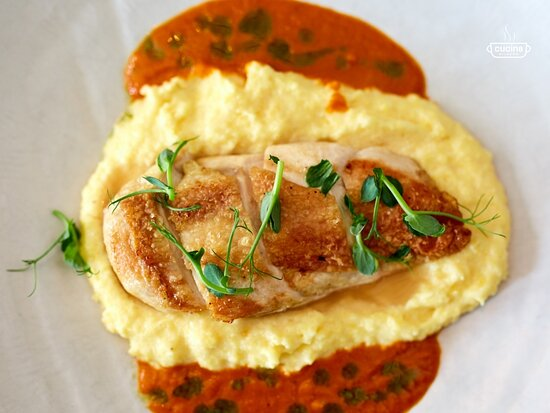 Chicken breast with puree and Coleslaw
