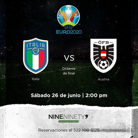 ¡Esto se va a poner bueno! 😎Vive toda la emoción de la Eurocopa 2020 con este partidazo en Nine Ninety 9. ⚽🏆🔥  #Italia 🆚 #Austria  📅 Sábado 26 de junio ⏰ 2:00 pm