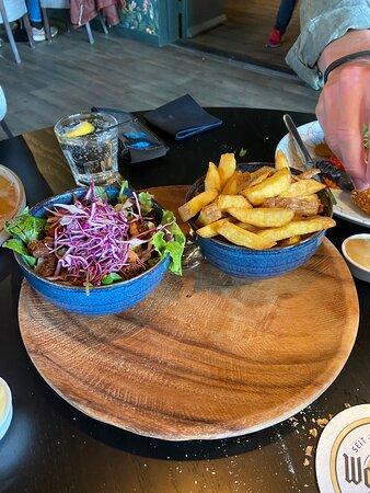 fresh fried and salad