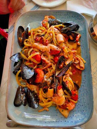 Linguine with shellfish, prawns and calamari dressed in a light marinara sauce