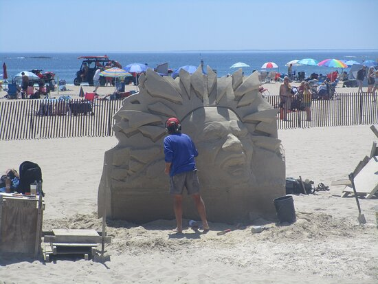 Sand Sculptor at Work on Hampton Beach in June, 2021