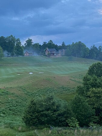 View from our suite with fog rolling in over the golf course