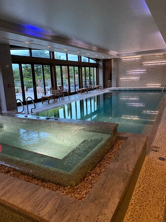 Indoor pool and hot tub.