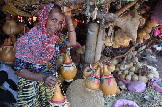 Selling calabash at the Bahir Dar weekly market in Ethiopia.
