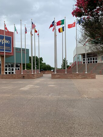 Rotary International Flag Display in the front of the MPEC in Wichita Falls, Texas.