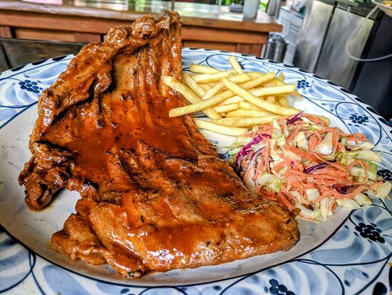 BBQ: Pork Ribs BBQ with Coleslaw & Fries - ซี่โครงหมูบาร์บีคิว เสิร์ฟพร้อมโคสลอว์และมันฝรั่ง 🍖