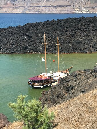 Caldera Half Day Tour (Volcano, Hot Springs, Thirassia): Our boat, Princess, was waiting for us to return from the Volkano.
