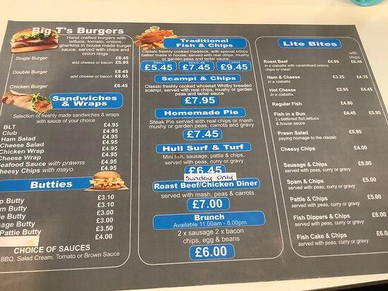 Food menu in Big T's