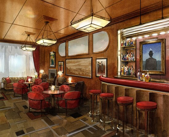Le Magritte Bar at The Beaumont was relocated and refashioned by designer Thierry Despont in 2021
