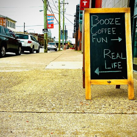 Come in for booze, coffee, and fun.