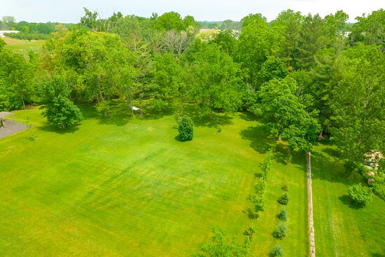 Partial aerial view of the rear yard.